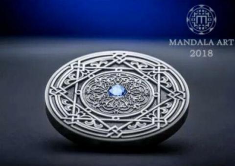 FIJI 10$ 2018 MANDALA ART Coin MORESQUE Silver 3oz Antique Finish Wordwide 500