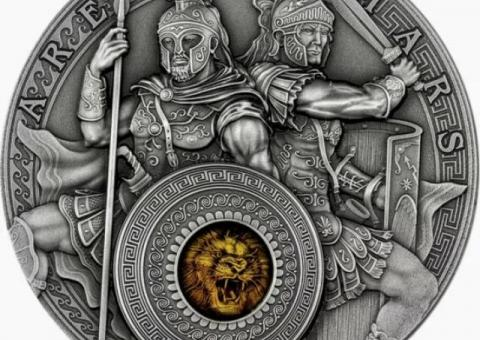 ARES AND MARS 2 Oz Silver Coin 5$ Niue 2021